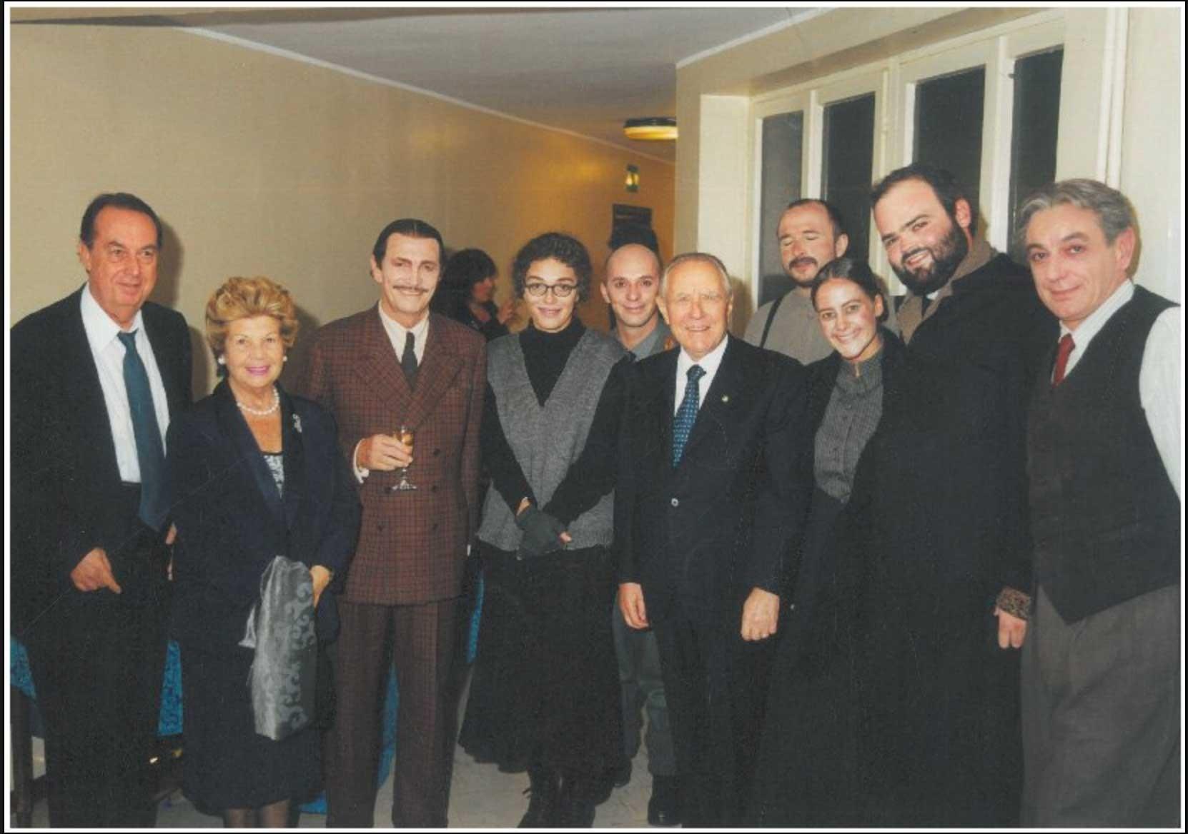 The Luca De Filippo Company with Carlo Azeglio Ciampi and wife.